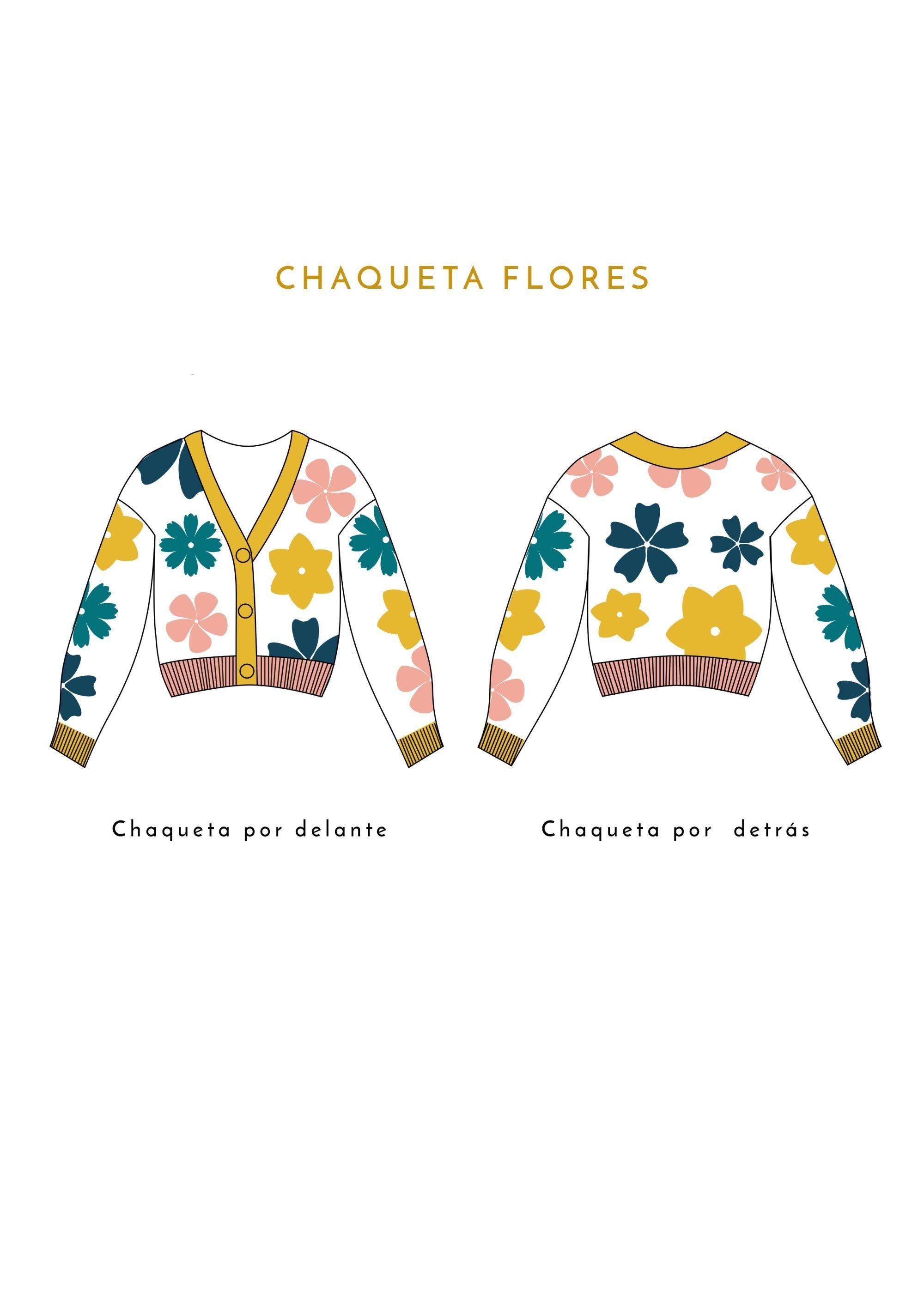 Dibujo Chaqueta Flores Amarilla Rosa y Verde Crisálida